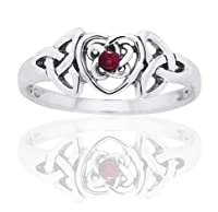 July Birthstone Ring - Sterling Silver Ruby Celtic Trinity Knot Heart(Sizes 4,5,6,7,8,9,10) by Silver Insanity