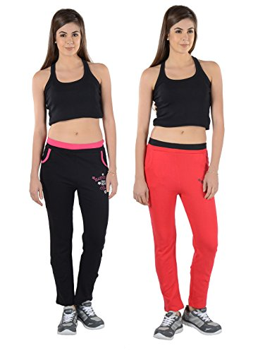 2Day Women's Solid Cotton Track Pants Black/Red (Pack Of 2)