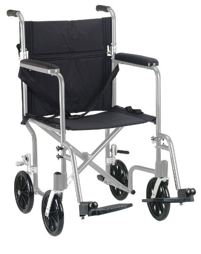 Drive Medical Fw19Sl Fly-Weight Transport Chair, 19 Inch, Silver