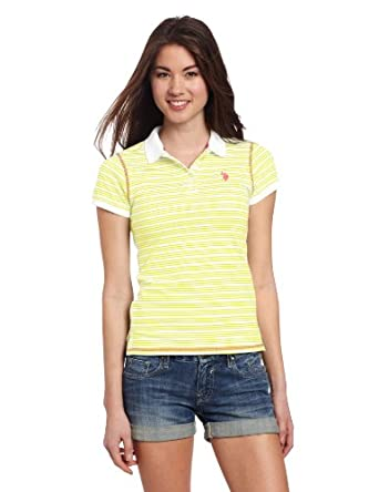 U.S. Polo Assn. Juniors Narrow Striped Polo, Lemon Rock, Small