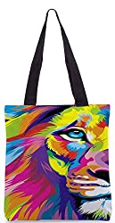 Snoogg Lion Paint Poly Canvas Tote Bag