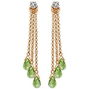 10.53 CT. 14K Rose Gold Chandelier Earrings with Diamonds and Peridots