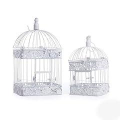 Koyal Square White Floral Birdcage, Set of 2