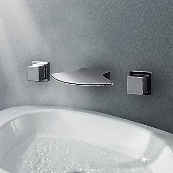 qhy zeitgen ssische verbreitet arcuate auslauf wasserfall 3 farben led waschbecken wasserhahn. Black Bedroom Furniture Sets. Home Design Ideas