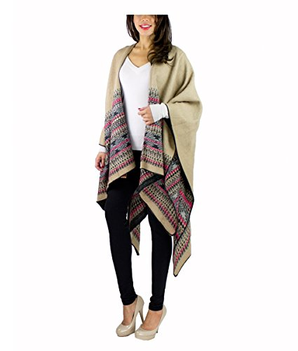 Modadorn New Basic Solid Winter Ruana Fringe Women's Fashion, Shawl & Accessories (Western Stripe Oversized Ruana BEIGE)