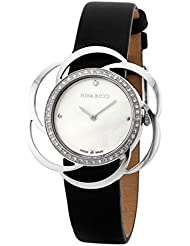 Nina Ricci SS Case With Flower Shape Bazel 46 Diamonds, White MOP Dial With 1 Diamond, Black Leather Strap