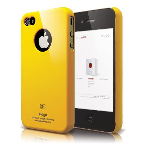 Elago S4 Slim Fit Case For At&T And Verizon Iphone 4/4S With Logo Protection Film Sport Yellow