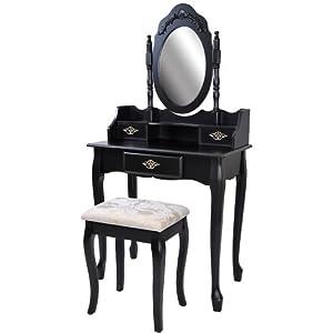 Coiffeuse noire avec tabouret tiroir et miroir pivotant 146 x 76 x 40 cm - Coiffeuse avec tiroir ...