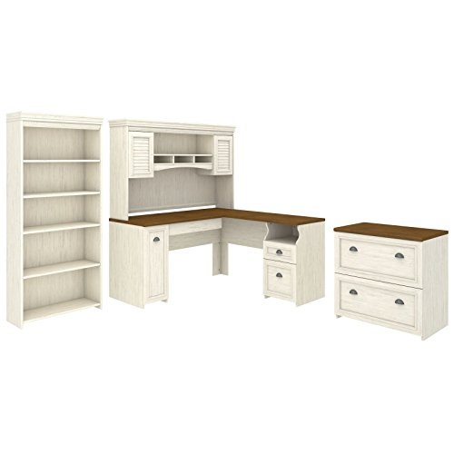 Bush Furniture Fairview L Shaped Desk With Hutch Bookcase