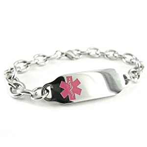 Women's, Ladies, Steel Medical Jewelry ID Bracelet, O-LINK Chain, Pink Symbol