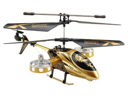 F105 Plastic + Alloy 4-Channel Drop-Resistance Infrared RC Helicopter with Light Control (Golden)