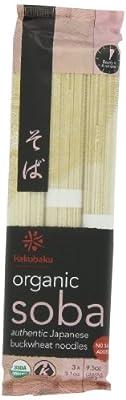 Hakubaku Organic Soba, Authentic Japanese Buckwheat Noodles, (no salt added) 9.5-Ounce (Pack of 8) from Hakubaku