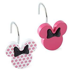 Disney Minnie Mouse Shower Curtain Hooks Set 12 Pink W Dots