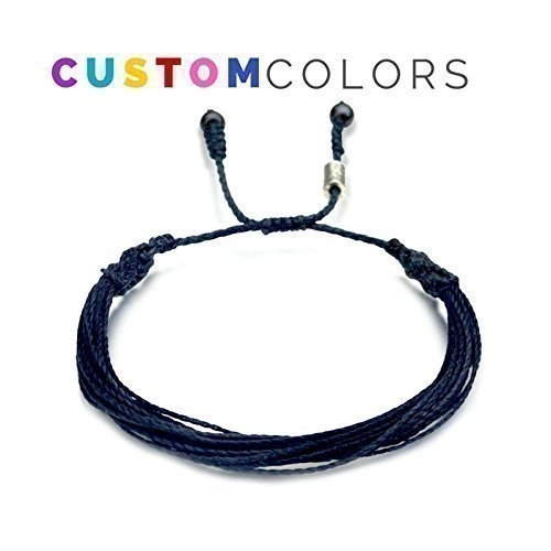 Custom Men's and Women's Nautical Multistrand String Bracelet: Handmade Customized Solid Colored Macrame Friendship Bracelet with Hematite Stones by Rumi Sumaq (Customized Friendship Bracelets compare prices)