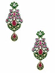 The Art Jewellery Ethnic Ruby & Emerald Color Dangle&Drop Earrings For Women