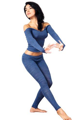 Denim Medium Sexy Denim Low Rise Leggings & Stretch Knit Ballet Neck Top Set By Kd Dance New York, Sexy, Smart, Cozy, Soft & Warm #Madeinusa