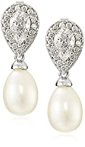 Sterling Silver Freshwater-Cultured Pearl and Swarovski Zirconia Earrings from Amazon Collection