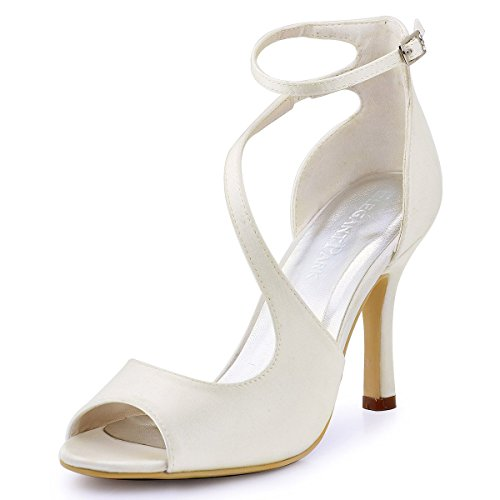 ElegantPark HP1565 Women's Peep Toe Pumps High Heels Ankle Strap Cutout Buckle Satin Wedding Bridal Sandal Ivory US 5