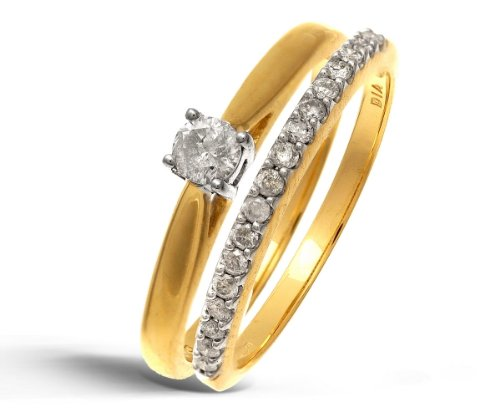 9ct Yellow Gold 33Pts Diamonds Bridal Set Ring - Size P