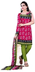 Swaman Pink Synthetic Dress Material