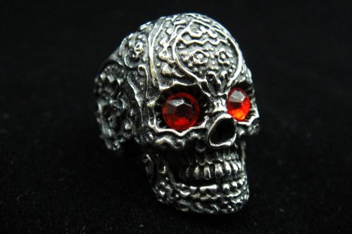 Men's 316L Stainless Steel Silver Red Ring Skull Head Ring for Hell Angels Harley Rider Motor Biker TR58 By Priority Mail