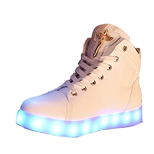 Also Easy Exquisite LED Light Luminous Sneaker High Top Lovers Athletic Shoes USB Charge White8.5 B(M) US Hot Sell (Type Z Shoes Men compare prices)