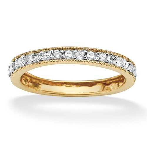 PalmBeach Jewelry Tutone 10k Gold Diamond Eternity Band