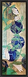14in x 38in Quilted Perfoliata I by Erin Galvez - Black Floater Framed Canvas w/ BRUSHSTROKES