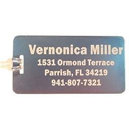 Luggage Tags (5) Metal Custom Engraved (Silver)