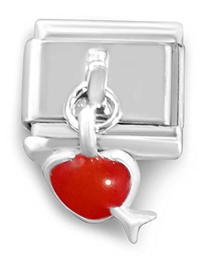 Italian-charm pendente a forma di cuore con freccia, 9 mm, compatibile con classic nomination Bracciale