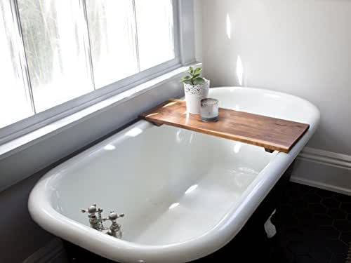 Modern Bathtub Tray Caddy Wooden Bath Tub Caddy Smooth Natural