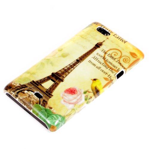 deinPhone Sony Xperia Miro ST23i HARDCASE Hülle Case Eiffelturm Rosa Blume