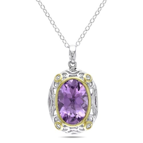 Sterling Silver Yellow Rhodium Plated Diamond and Amethyst Pendant with Chain, (.10 cttw, GH Color, I2;I3 Clarity)