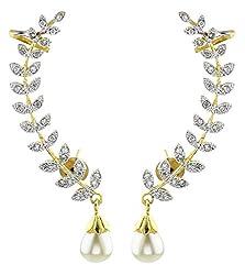 Youbella Gold Plated American Diamond Leaf Shape Ear Cuffs Earrings For Women & Girls