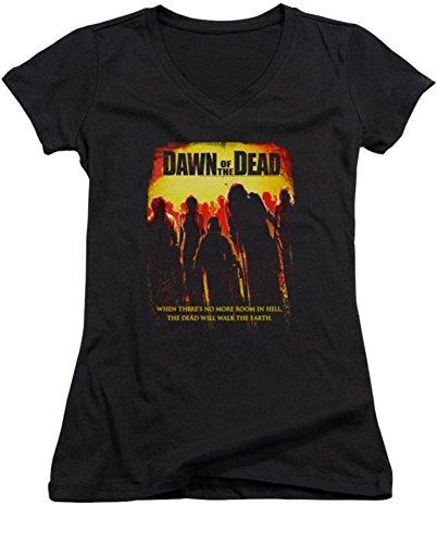 Dawn Of The Dead Title Ladies Junior Fit V-Neck T-Shirt
