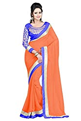Women's Latest Designer Printed Georgette Saree with Blouse piece By Maahi Fashion (Orange)