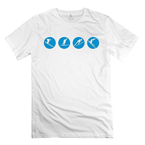 Zya6W Men Ski Skiing 100% Cotton T-Shirt White Xs,Cool Shirts