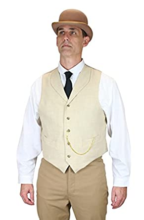 Historical Emporium Mens Thatcher Linen Vest $59.95 AT vintagedancer.com
