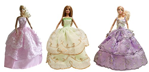 Barbie Fairy Evening Dress, Ballroom Dresses, Wedding Dresses (3 Dress Set) - Dolls NOT Included