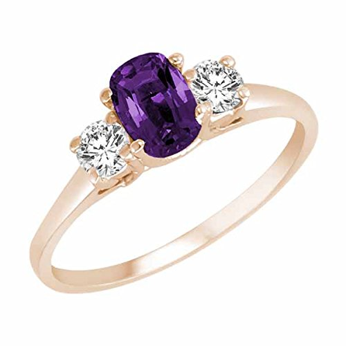 Ryan Jonathan Cushion Amethyst and Diamond Ring in 14K White Gold