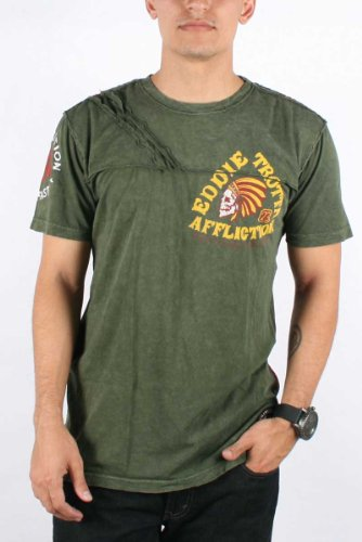 Affliction - Mens Eddie Trotta Thunder T-Shirt In Military Green Lava Wash, Size: Large, Color: Military Green Lava Wash