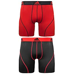 adidas Men\'s Sport Performance Climalite Boxer Brief Underwear (2-Pack), Real Red/Black, Large