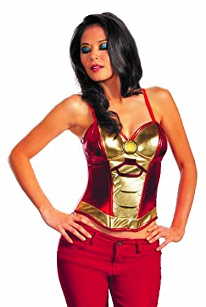 Disguise Iron Man Mark 42 Fiercely Femme Sassy Womens Adult Bustier Costume, Gold/Red, Medium/8-10