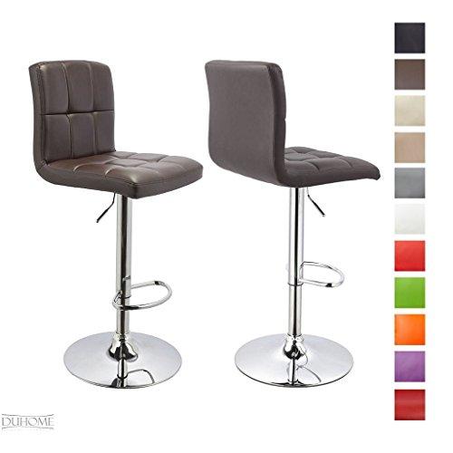 Barhocker-2x-Barstuhl-Kunstleder-BRAUN-Drehstuhl-Tresenhocker-Typ-9-451Y-Bar-Sessel-gut-gepolstert-Bodenschoner-mit-verchromten-Griff-hhenverstellbar-gut-gepolstert-mit-Lehne-eckig