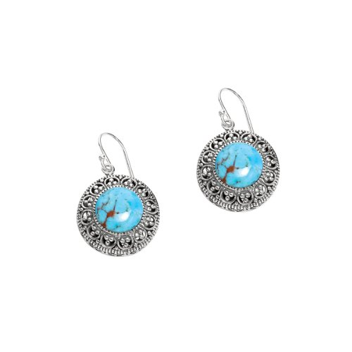 Silver-Oxidized-12-4mm-1-2-Dome-Round-Reconstituted-Turquoise-Fancy-Earrings