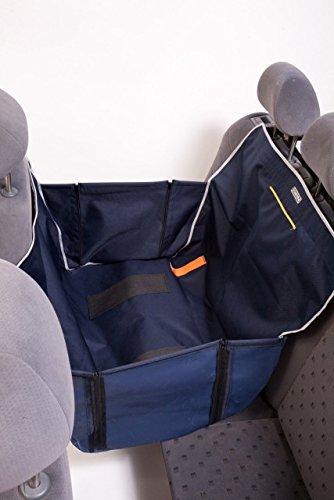 Hundedecke-Autoschutzdecke-Kardidecke-Antirutsch-Schondecke-mit-Reiverschluss-und-Seiten-fr-die-Hlfte-des-Sitzes-fr-den-Transport-von-Hunden-Kardiff-Mini-Anti-Slip-5-Farben-Marineblau