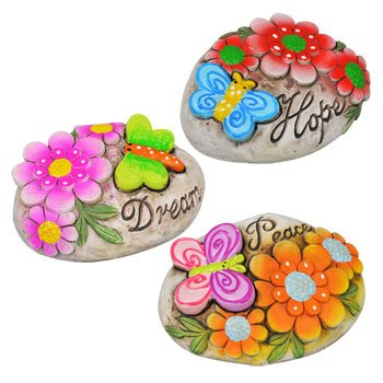 Garden themed cement stepping stones with sayings 3pcs for Garden stones with sayings