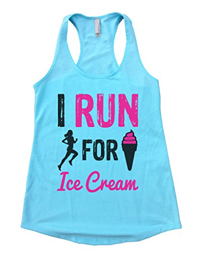 Womens Flowy Tank Top I Run For Ice Cream Marathon Running Shirt Funny Threadz Large, Cancun Blue (I Run For Ice Cream Shirt compare prices)