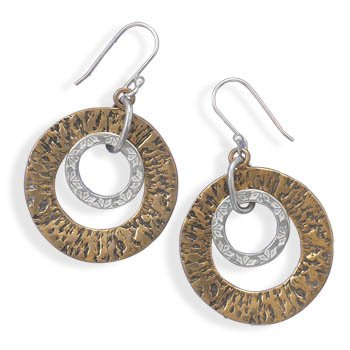 Sterling Silver Two Tone Circle Drop Earrings