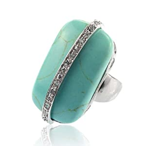 Turquoise Crystal Ring Size 7 Fashion Jewelry